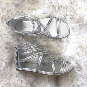Bamboo Silver Stardust Strap Sandal Shoe